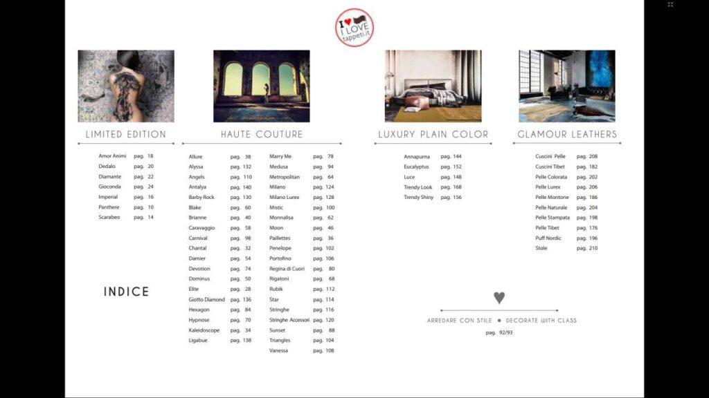 indice del catalogo di tappeti moderni del marchio SITAP Haute Couture