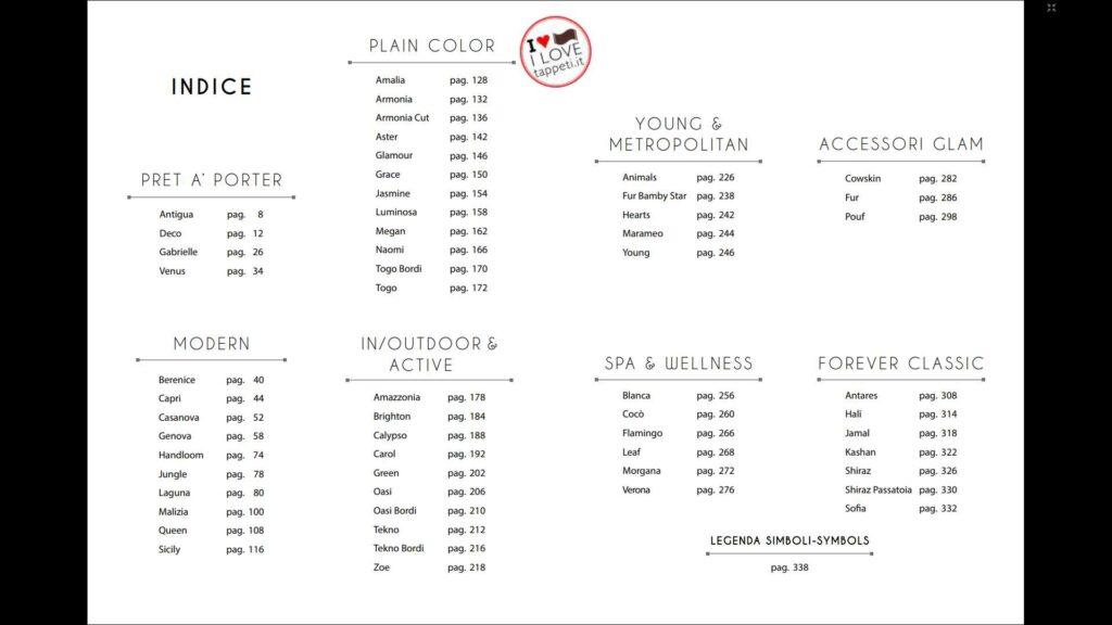indice del catalogo di tappeti moderni del marchio SITAP  Pret à Porter