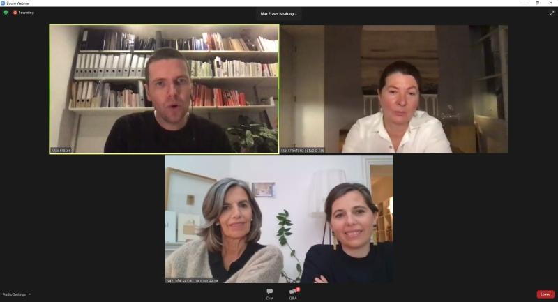 Max Fraser (moderatore), Ilse Crawford (designer della collezione di tappeti Wellbeing), Nani Marquina (fondatrice di Nanimarquina tappeti) e Maria Marquina (CEO di Nanimarquina)