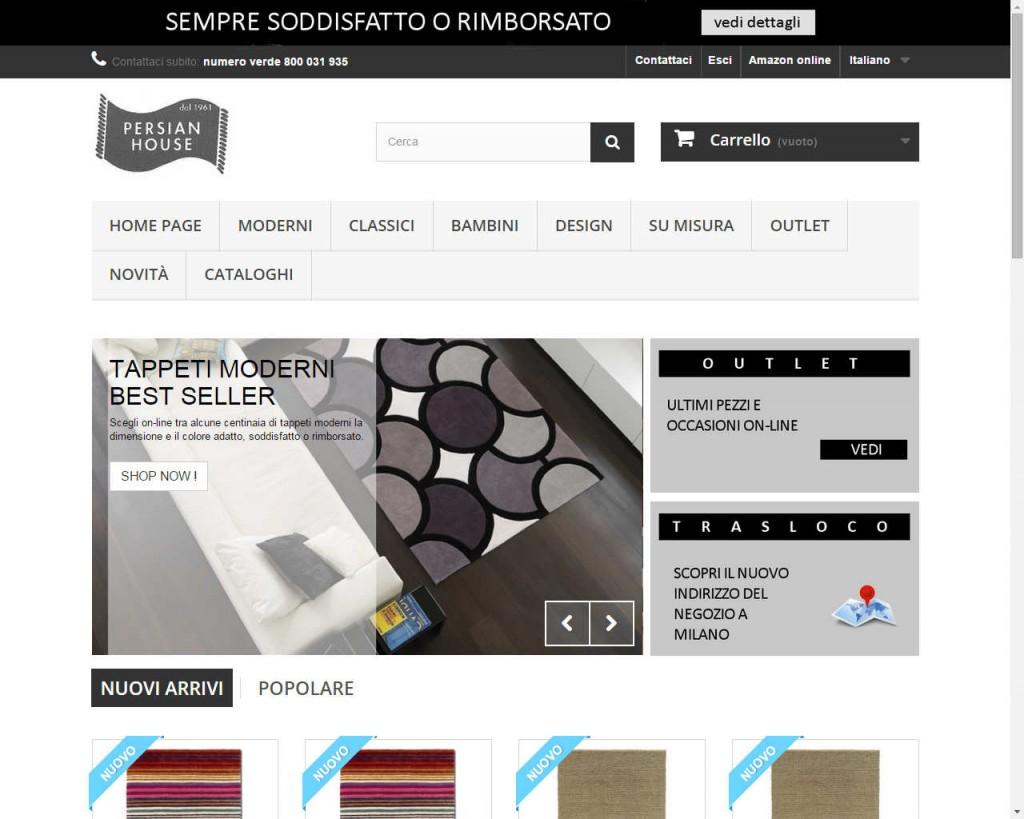 nuova versione di sito per a vendita on-line di tappeti moderni