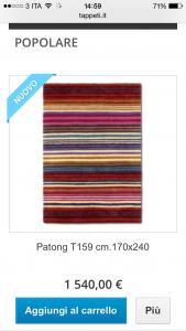 scegli il tappeto moderno dal sito mobile