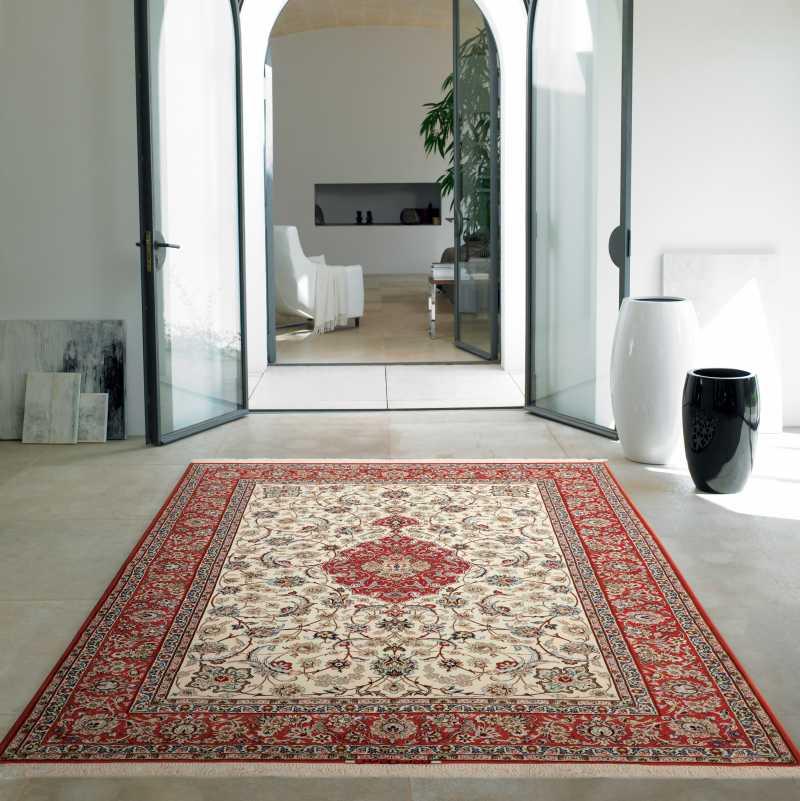 tappeto originale Isfahan annodato a mano proveniente da Persia in lana e seta