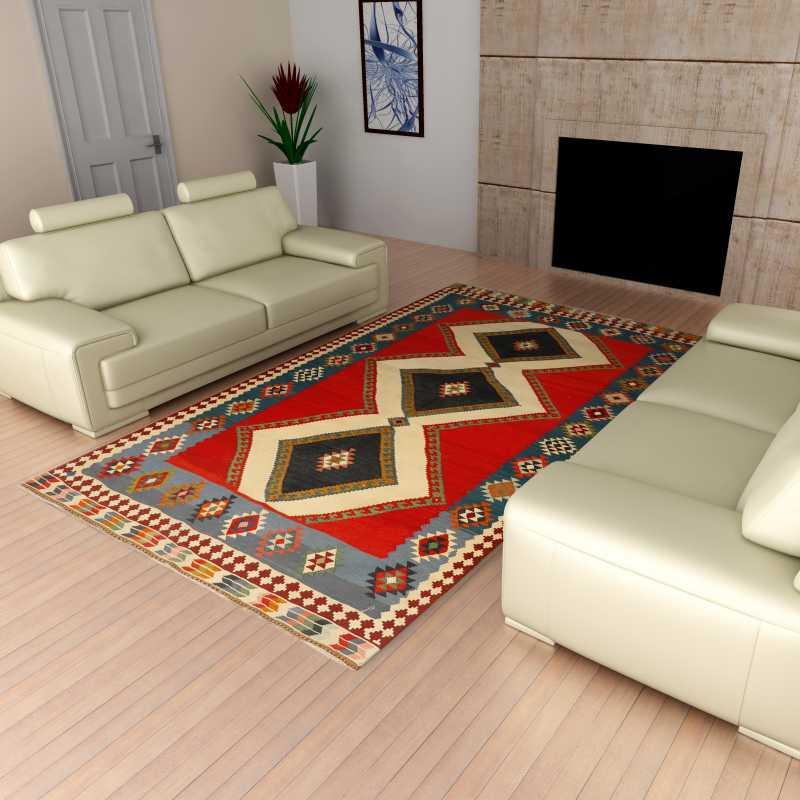 tappeto Kilik Persia originale fatto a mano in lana con disegno geometrico