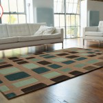 tappeto moderno cuadros blu