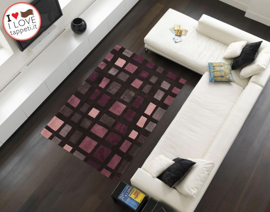Tappeto moderno cuadros nero viola il blog dei tappeti for Tappeto nero moderno