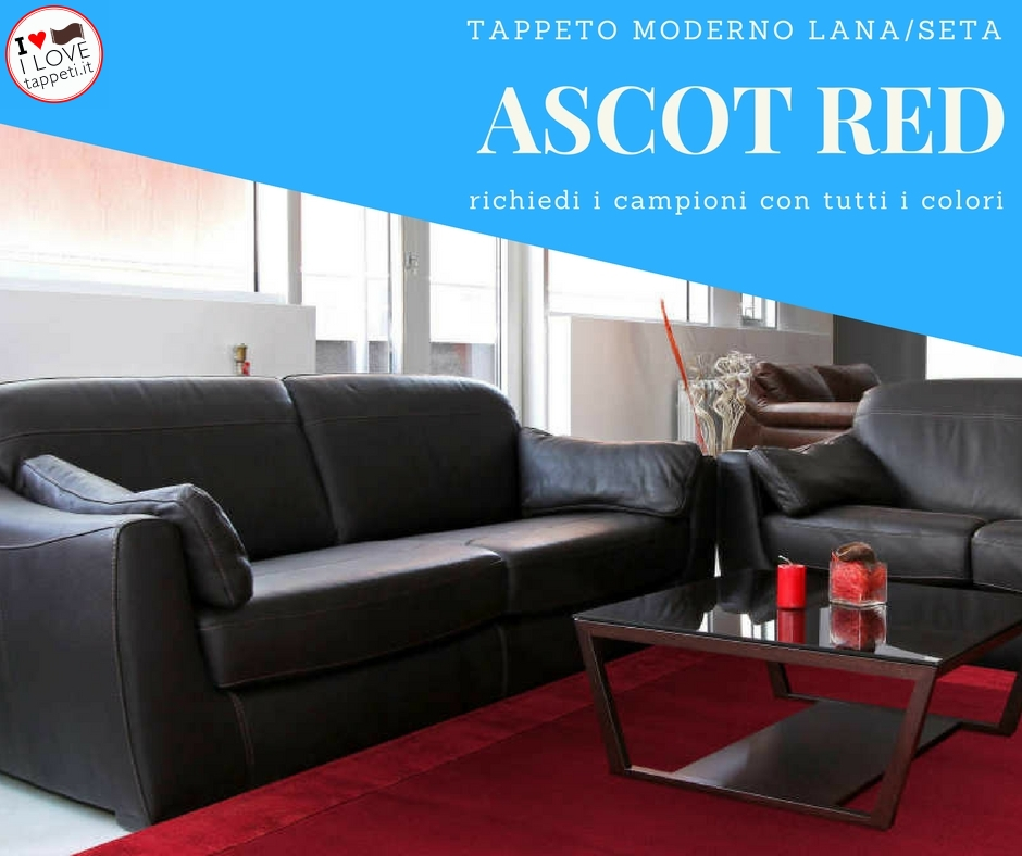 tappeto moderno in tinta unita Ascot rosso con bordo in seta