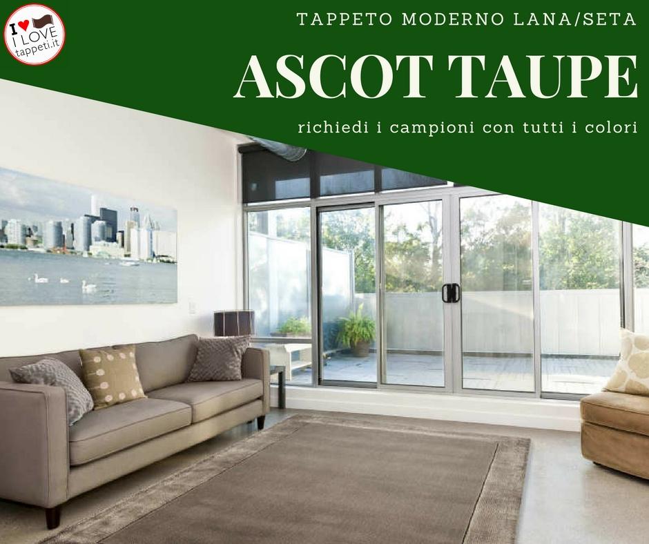 tappeto moderno tinta unita in lana e seta modello Ascot taupe
