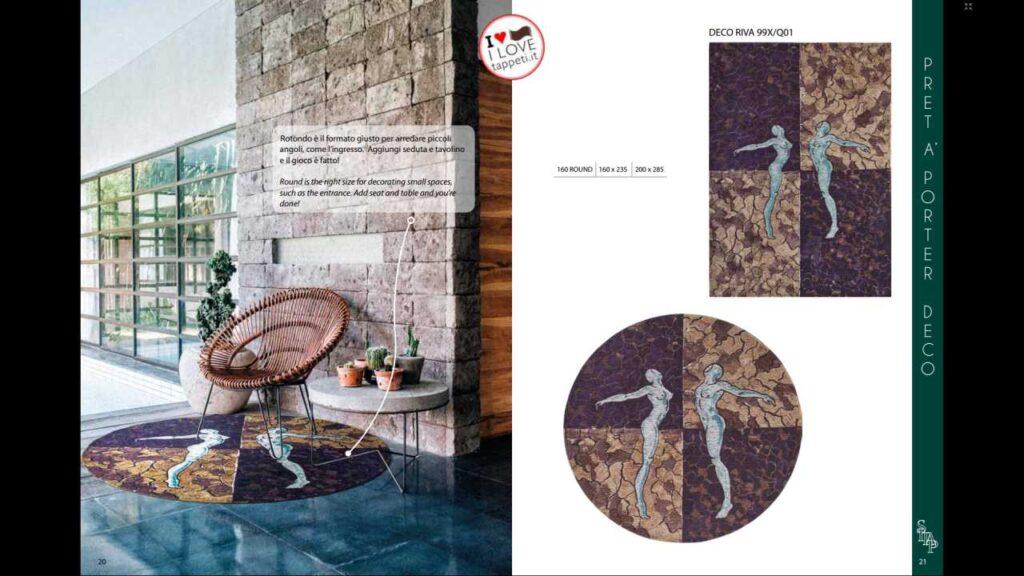 Una delle novità 2020 è il tappeto moderno SITAP collezione Pret a Porter modello DECO RIVA 99X/Q01 disponibile sia in rettangolo e sia in rotondo