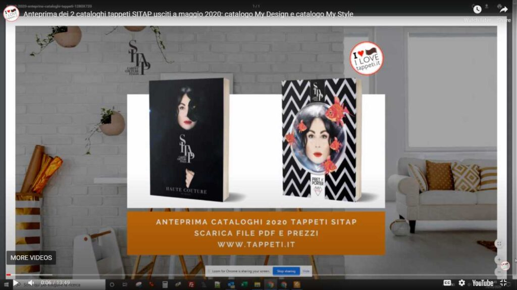 Presentazione dei 2 cataloghi tappeti SITAP usciti a maggio 2020: catalogo  Haute Couture (My Design) e catalogo  SITAP Pret à Porter (My Style)